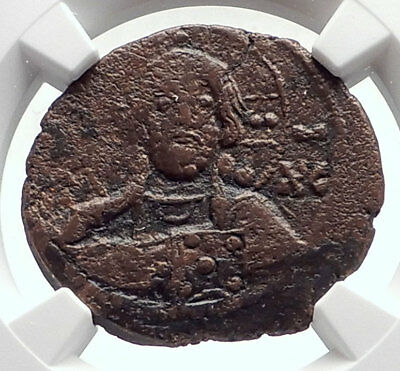 JESUS CHRIST Class E Anonymous Ancient Byzantine Follis Coin CROSS NGC i72086