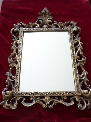 Antique Solid Brass Ornate Mirror/picture Frame