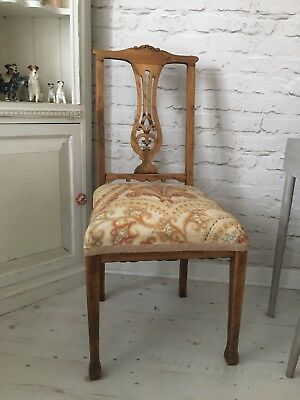 Edwardian Oak Carved Reupholsterd Chair