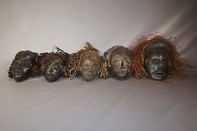 Lot of 5 Hand Carved African Chokwe Masks from Angola/DRC