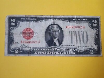 Currency Note 1928 2 Dollar Bill Red Seal Note Paper Money United States USA Rar