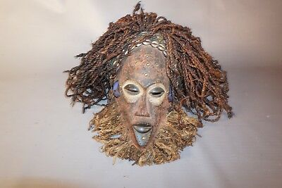 "Hand Carved African Chokwe Mask 14"" from DRC/Angola"