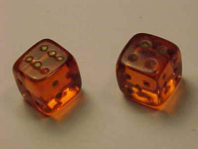 Pair Vintage Red Blood Orange Glass Dice - Set of 2 - Lot of Two Dice