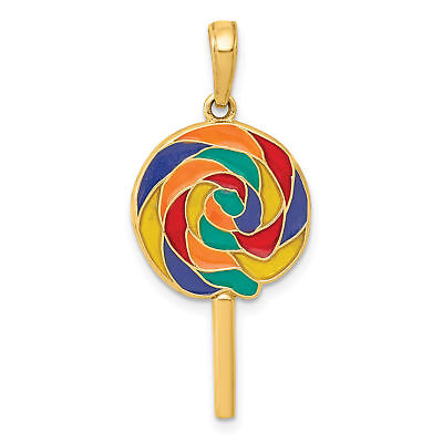 14k Yellow Gold Polished 3D Enameled Lollipop Pendant. (1.1INx0.5IN)