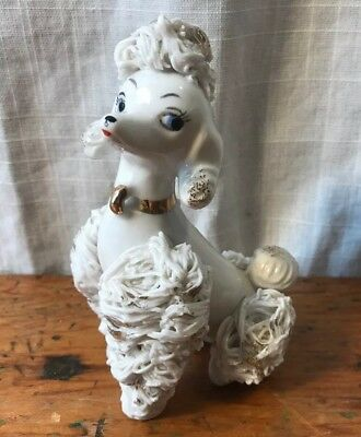 "Vintage White Ceramic Poodle Dog Mom from Set Spaghetti Gold Flecks, 2.25"" Japan"