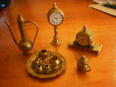 Vintagen Miniature Brass Tea Set & 2 Brass Miniature Clocks - Dolls House