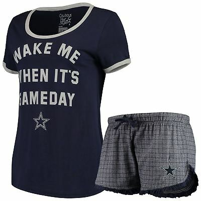 Dallas Cowboys Pajama Set Women's NFL Sleepwear Lounge Shirt & Short Gina DCM