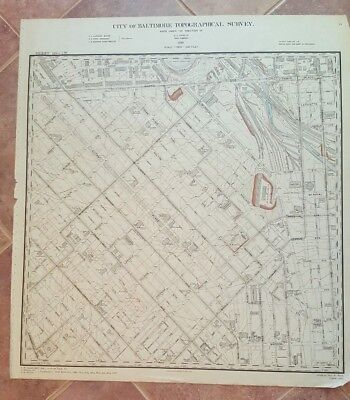 ANTIQUE Map/City of Baltimore Topog. Survey/1897- University of baltimore Area