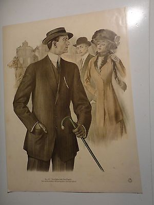 Vintage Color Mens Clothing Art Lithograph #202 From Fall & Winter 1911 & 1912