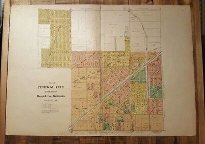 Antique Map - CITY OF CENTRAL City Nebraska - Nonpareil Pub. Co. 1921