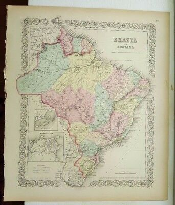 VERY NICE 1856 Colored Map - BRAZIL AND GUAYANA - Colton's Atlas Of The World