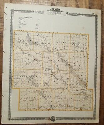 NICE ANTIQUE MAP - GUTHRIE/CARROLL COUNTY IOWA - Andreas Atlas Co. 1875