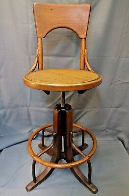 c1920 Telephone Operator Revolving Oak Stool w Adjustable Woven Seat Industrial