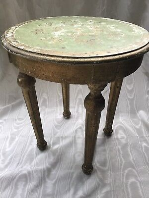 Italian Tole Gilt Round Side Table-Vintage Florentine Wood Gold Verdigris chippy