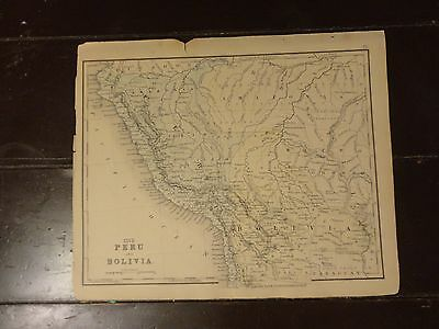 1870 Hand Colored Antique Engraved Map of Peru and Bolivia - Mitchell's Atlas