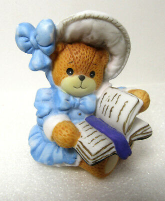 Lucy & Me ~ Blue Dress Wearing Bonnet Reading Book Bible ~ Enesco Figurine