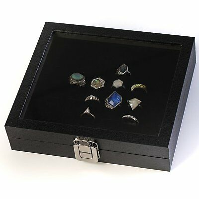 Ring Display Case Organizer Glass Top Jewelry Storage Box 36 Slot Tray Holder