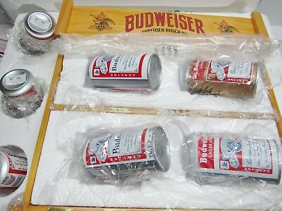 HAMILTON ULTIMATE BUDWEISER VINTAGE BEER CAN COLLECTION with DISPLAY RACK SHELF