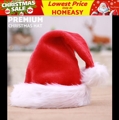 61g Santa Red Plush Christmas Xmas Hat Cap Adult Holiday Costume Headgear Party