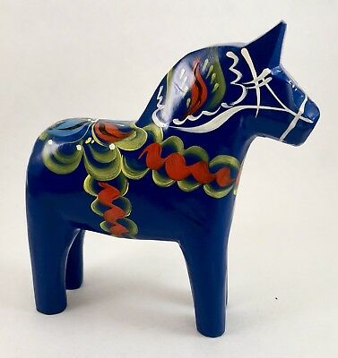 "NEW Swedish Dala Horse 5"" Blue-2"