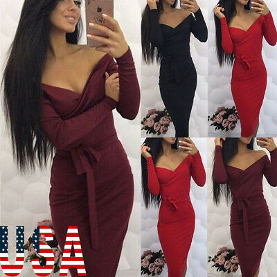 USA Women Winter Knitted Sweater Slim  Bodycon V Neck Long Pencil Party Dress