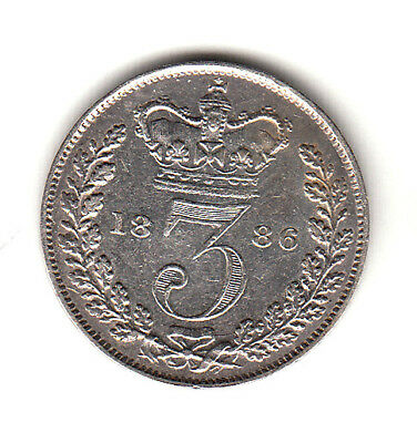 Great Britain 3 Pence  1886  Victoria young head