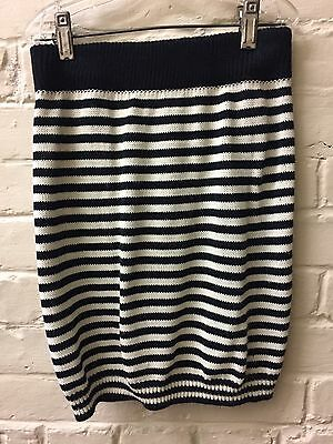 Vtg 80s M Knit straight Stripe Skirt Black white Body Hug Exchange Unlimited