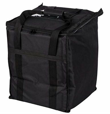 "Insulated Food Delivery Bag Soft Sided Black Nylon 13"" x 13"" x 15.5"""