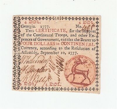 1777 Georgia Colonial Currency $4 Note / Red Seal / VF+ / Four Dollars / US USA