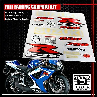 Fairing/fender 4Mil Graphic Kit Sticker&emblem Decal Set 04+ Gsxr 600/750 White