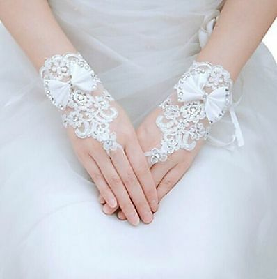White/Ivory Lace Floral Brides Wedding Floral Bowknot Fingerless Short Gloves