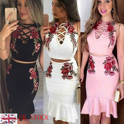 New Women 2 Piece Bodycon Two Piece Crop Top and Skirt Set Lace Up Party Dress U