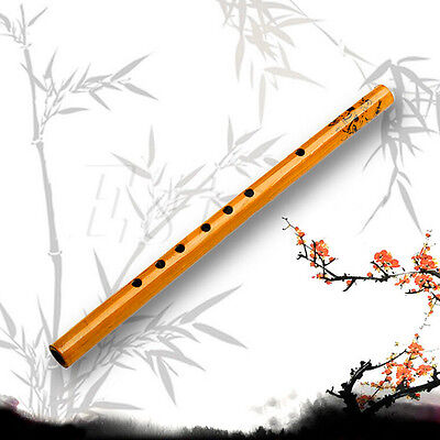 Traditional 6 Hole Bamboo Flute Clarinet  Musical Instrument Wood Color SMHN
