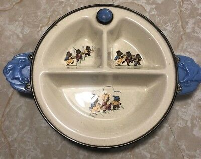 VINTAGE EXCELLO 3 COMPARTMENT DIVIDED BABY PLATE WARMING DISH 3 Little Bears