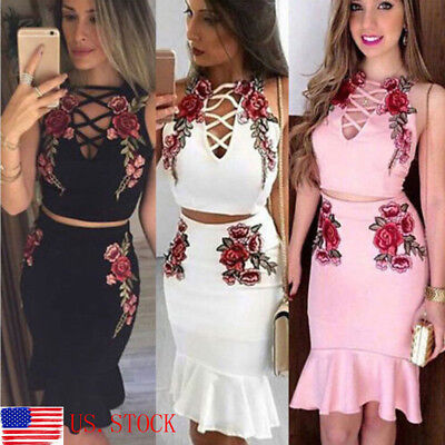 c8f19f7afd5 Women 2 Piece Bodycon Two Piece Crop Top and Skirt Set Bandage Dress  Clubwear US