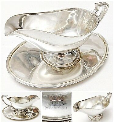 Vintage 2 Piece Apollo Silver Plated Grave Boat with Drip Tray
