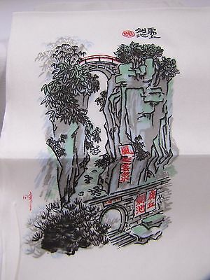 Silk Scarf Chinese Hand Painted Decorative  River Mountain Bridge Scene Vintage