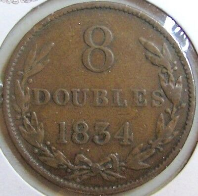 1834 GUERNSEY 8 DOUBLES - Low Mintage; Previously Graded as VF