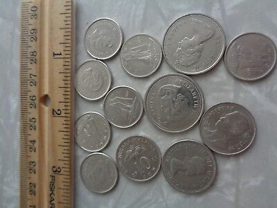 coin lot vintage coins silver color Canada malaysia mix lot