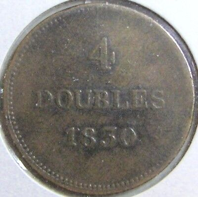 1830 GUERNSEY 4 DOUBLES - Low Mintage; Previously Graded as F/VF
