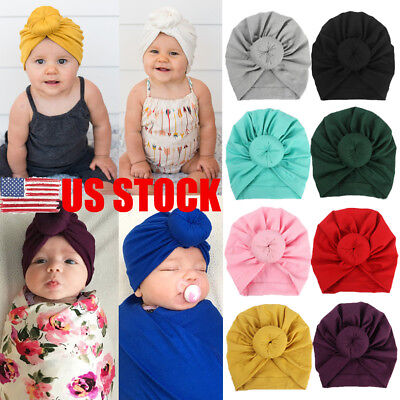 US STOCK Newborn Toddler Kids Baby Boy Girl Turban Cotton Beanie Hat Winter Cap