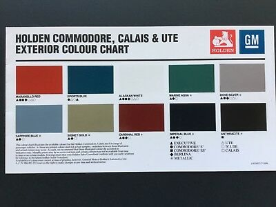 Holden HSV VP Exterior and Interior Colour Chart Excellent Condition