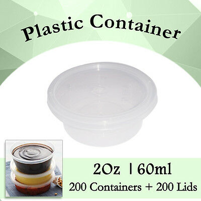 Disposable Plastic Takeaway Sauce Containers 200 Containers + 200 Lids:2 Oz 60ml