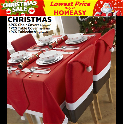 6× Christmas Chair Cover Dinner Santa Hat Decoration Xmas Table Cover Tablecloth