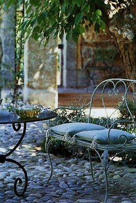 FRENCH DESIGN classical antique ivory garden bench outdoor wrought iron  QUALITY