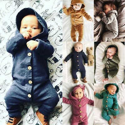 UKStock Autumn Infant Baby Boy Girl Cotton Hooded Romper Jumpsuit Clothes Outfit