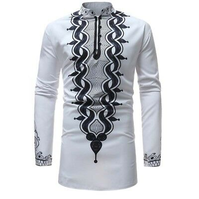 Top Shirts African Tribal Shirt Men Dashiki Print White Hippie Blouse Clothing