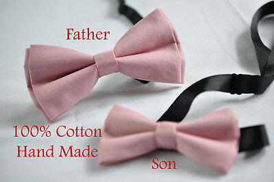 Father Son Men Boy Match Dusky Dusty Rose Pink Blush Pink Cotton  Bow Tie Bowtie