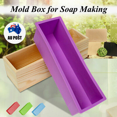 Wood Loaf Soap Mould w/ Silicone Mold Toast Cake Bread BreaMaking Wooden Box OZ