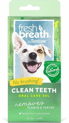 TropiClean Fresh Breath Plaque Remover Cat and Dog Clean Teeth Gel Kit 4 oz